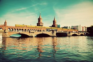 The Oberbaum Bridge, Berlin. Vintage