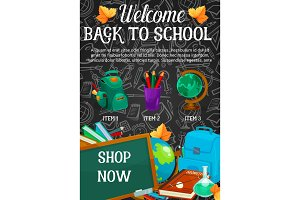 Back to school sale banner, discount