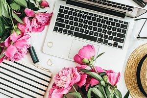Fashion blogger office desk