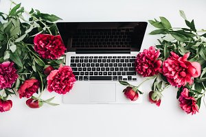 Laptop and pink peonies