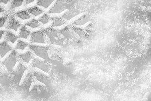 Snowflake on snow, winter