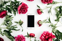 Cell phone in frame of peonies by  in Technology