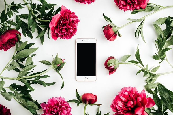 Technology Stock Photos: Floral Deco - Cell phone in frame of peonies