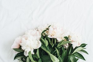 White peony flowers bouquet