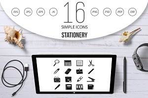 Stationery symbols icons set, simple
