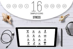 Stress icons set in simple style