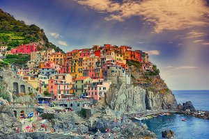 Beautiful view of Manarola town, Cin