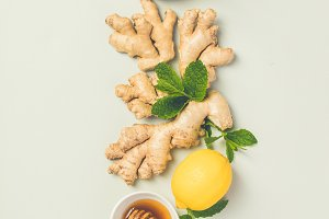 Ginger tea with lemon, honey and min