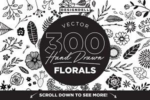 300 Hand Drawn Florals
