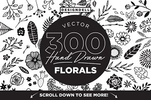 300 Hand Drawn Florals