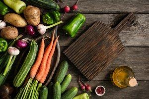 Fresh organic vegetables on wood