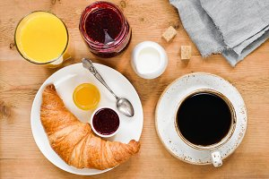 Continental breakfast on table
