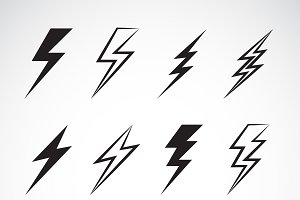 Vector of thunder lightning flat.