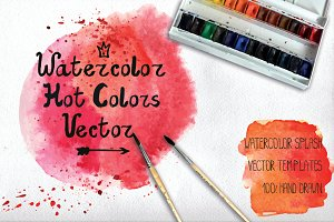 Watercolor Vector stains. Hot colors