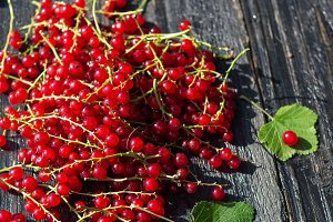 Red currant on a black wooden table