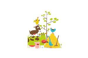 Cartoon Farm Domestic Animals