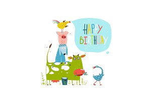 Birthday Farm Animals Greeting