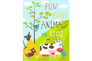 Cartoon Farm Animals in Field