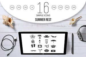 Summer rest icons set, simple style