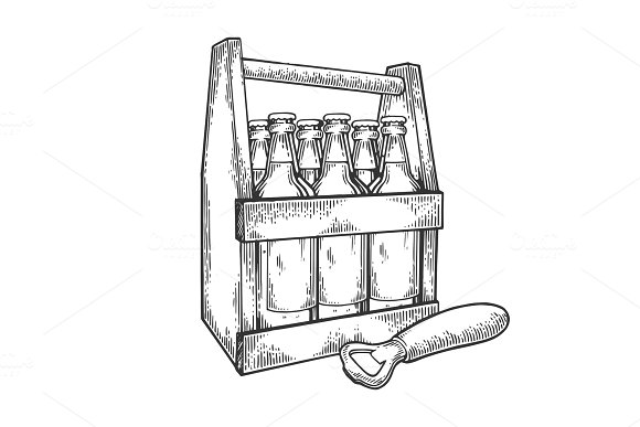 Beer box engraving vector