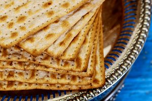 Jewish matza on Passover unleavened