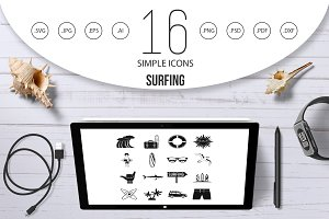 Surfing icons set, simple style