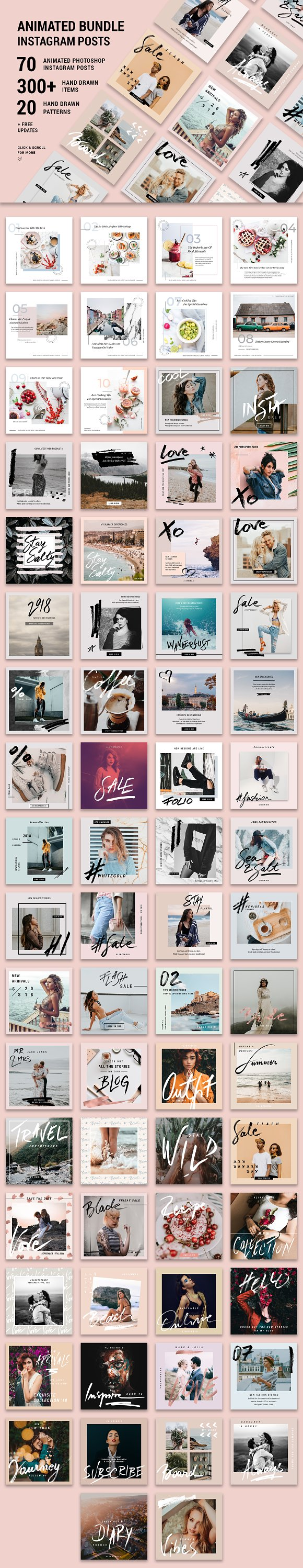 ANIMATED Instagram Posts Bundle