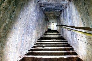 Dark underground staircase