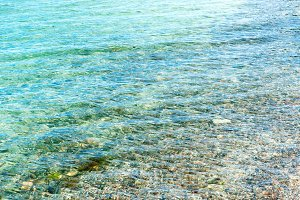 Blue clear sea water on the beach