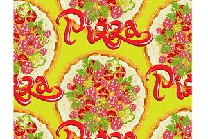 Pizza, seamless pattern