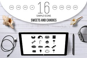 Sweets and candies icons set, simple