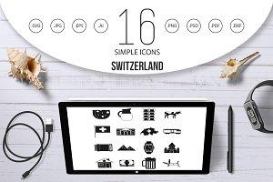 Switzerland Icons set, simple style