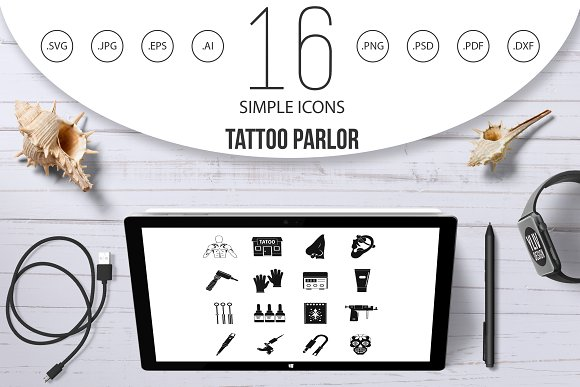 Tattoo parlor icons set, simple