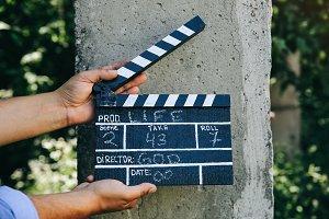 Black clapperboard, cinema, movie