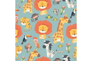 Happy jungle animals seamless