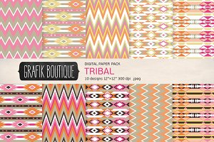Tribal pattern digital paper girly