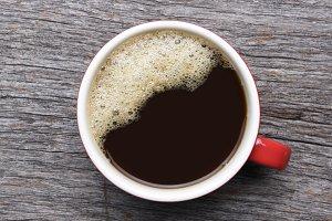 Black Coffee Mug with Red Handle