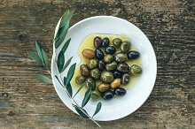 A plate of Mediterranean olives
