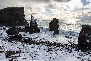 Atlantic coast in Iceland in winter