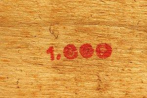 Number 1000 on wood