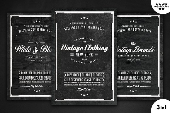 Vintage Retro Flyer Template Vol.5 - Flyers