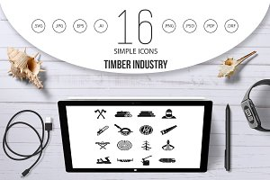 Timber industry icons set, simple