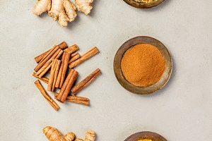 Ginger, turmeric and cinnamon
