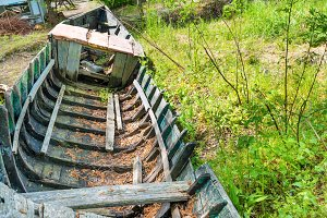 Old wrecked fishing boat