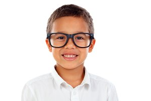 Funny child with big glasses laughin