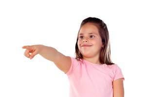 Cute child girl pointing with his fi