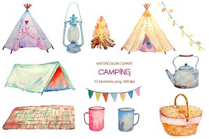 Watercolor Camping Clipart Teepee