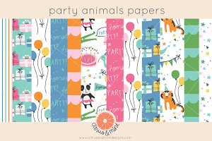 birthday party animals digital paper