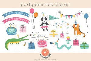 birthday party animals clip art