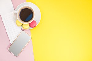 Creative flat lay with coffee cup an